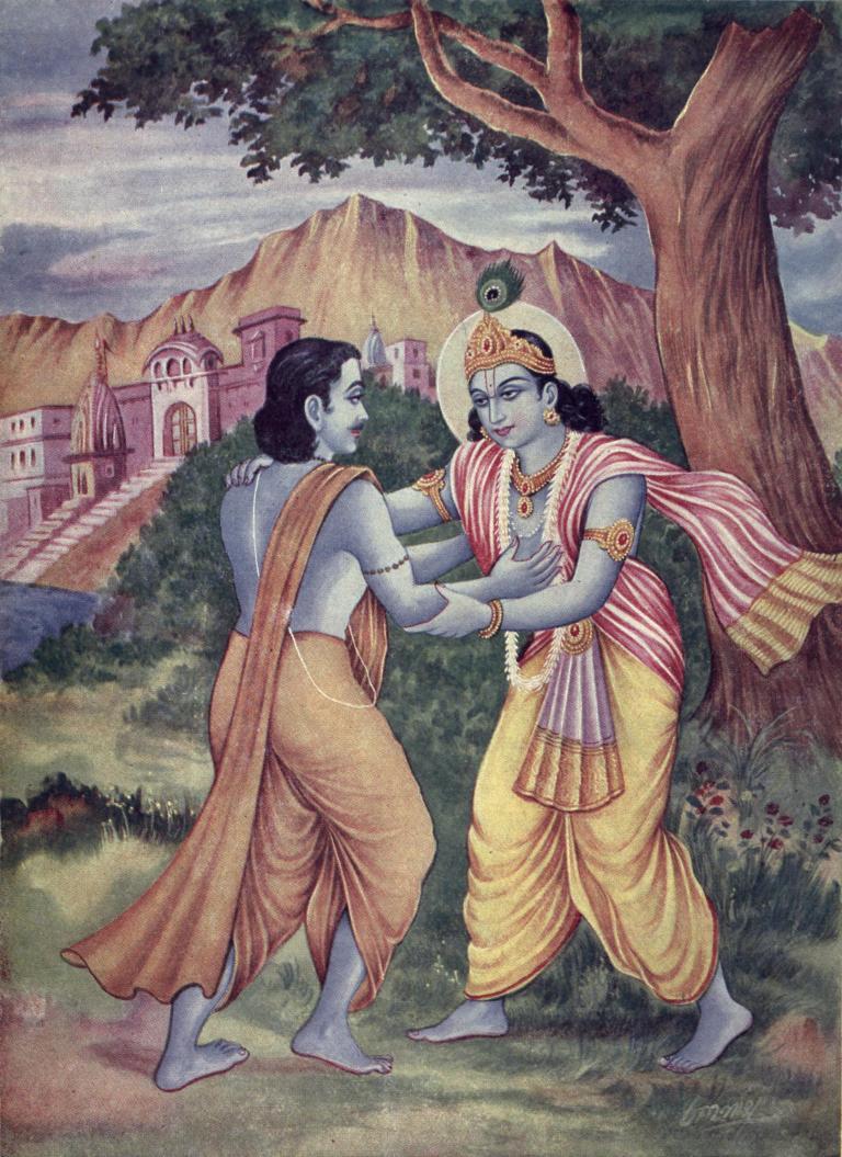 Arjuna_meets_Krishna_at_Prabhasakshetra